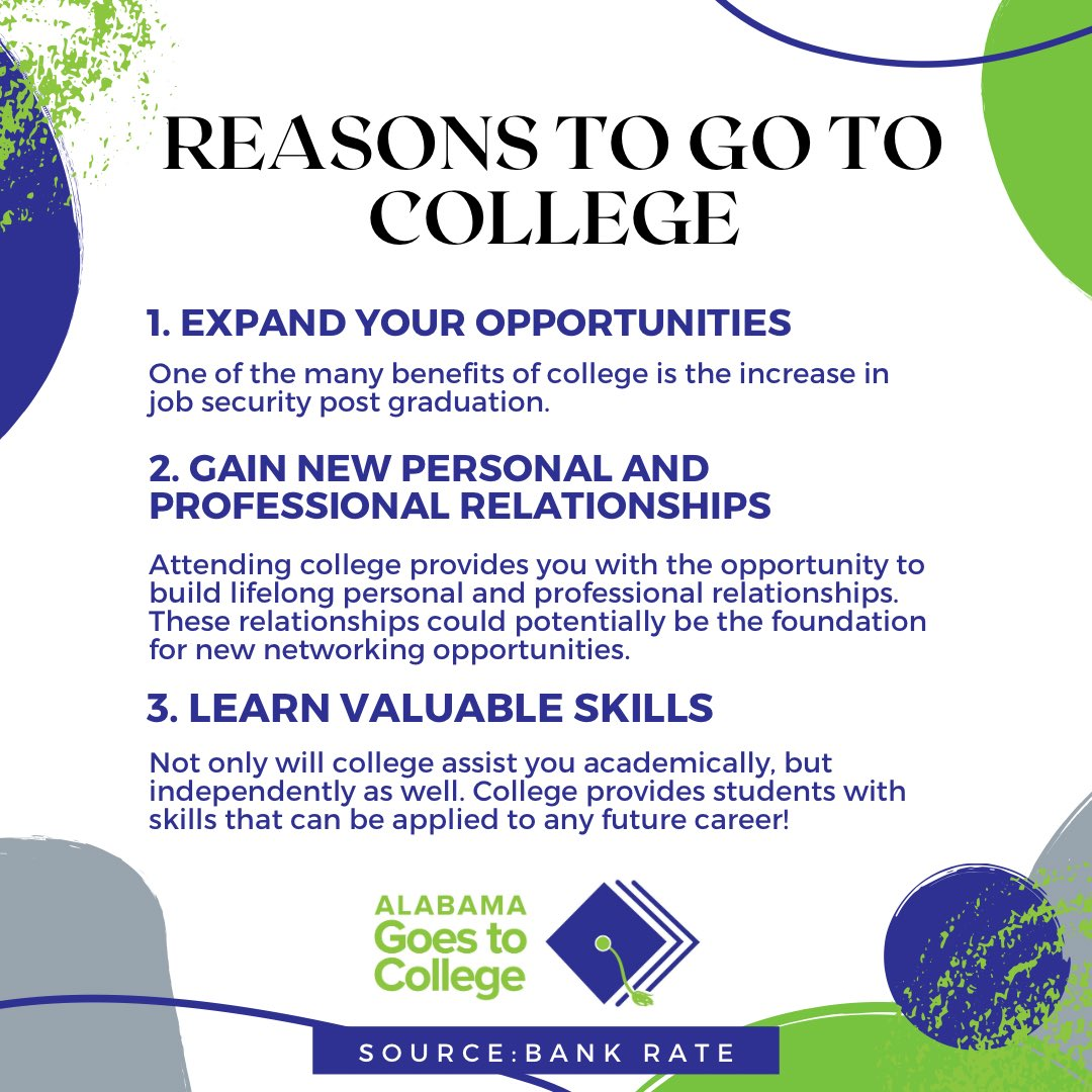 Not sure if college is for you? Check out these reasons why you should consider going to college! #ALGoes2College #ReachHigher #WhyApply