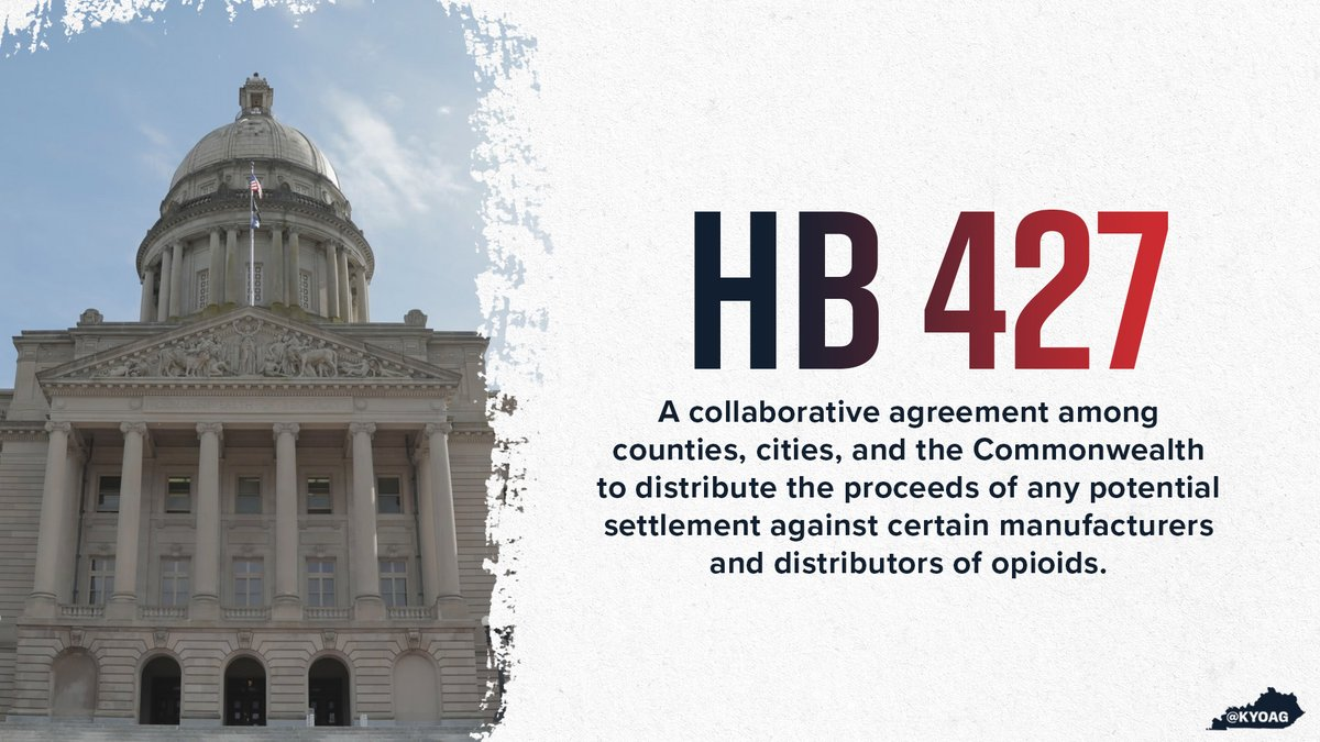 We've joined forces with legislators, @KACo, & @KyLeagueCities in support of HB 427, which ensures that if a settlement is reached with certain opioid manufacturers & distributors those funds are disbursed throughout the state to assist in the fight against the opioid epidemic.