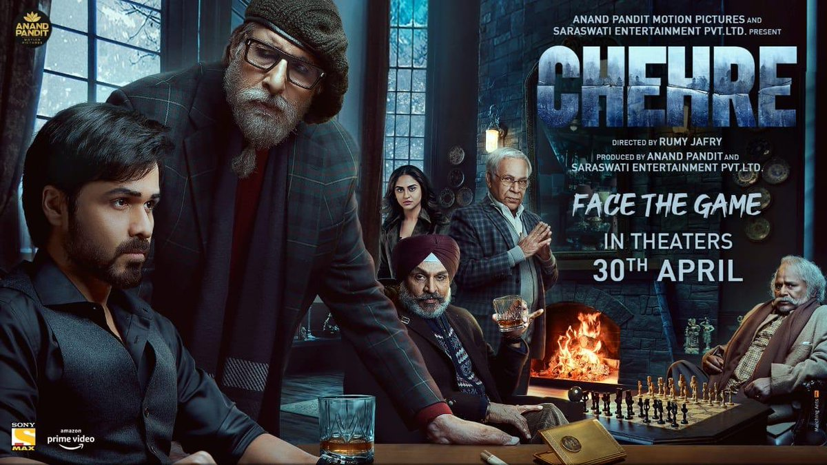 #Chehre, much awaited mystery thriller, in theatres on 30th April, 2021 #FaceTheGame  It has @SrBachchan & @emraanhashmi & is produced by Anand Pandit Motion Pictures & Saraswati Entertainment Private Limited and directed by Rumy Jafry.