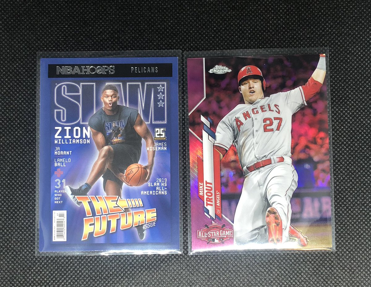 GIVEAWAY!!   Mike Trout 2020 Pink Parallel Zion Williamson 2021 Slam Magazine  There will be 1 winner   TO BE ENTERED: Retweet , Follow Me, and Comment your favorite athlete below.  Winner Selected at 1,200 Followers  GOOD LUCK!! @CardPurchaser @HobbyConnector    @hobyn_