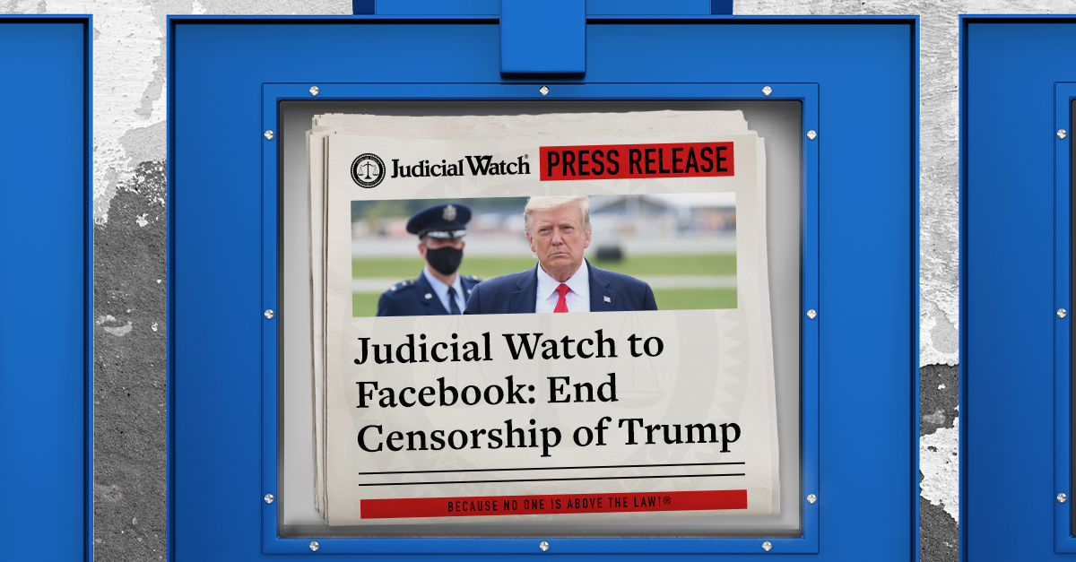 Judicial Watch announced it asked Facebook's Oversight Board to end the censorship of Trump & allow him back onto the platform. Judicial Watch told the Board that the decision to suspend Trump is an affront to free speech & transparency. READ: https://t.co/zxIEKLBAYn https://t.co/zUxEq2VHrA
