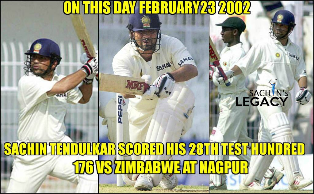 #OnThisDay in 2002 #SachinTendulkar scored his 28th test hundred 176 against #Zimbabwe at #Nagpur   -A post from @sachin_rt pakistani fan page