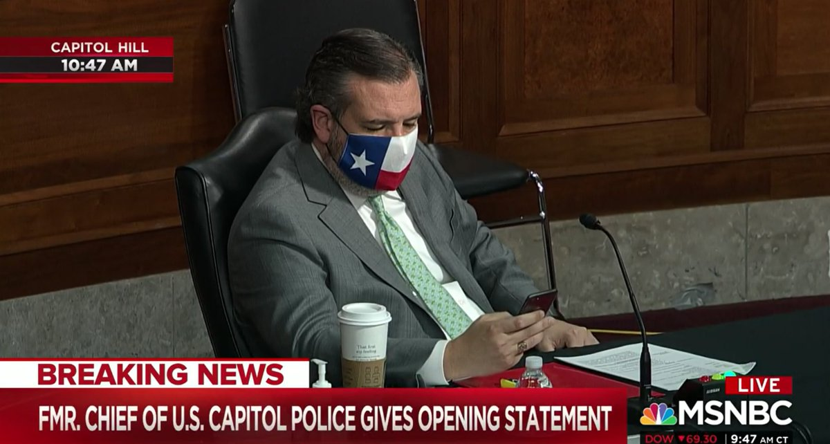 Why was Ted Cruz on his phone during the opening remarks of former Capitol Police Chief Steven Sund?