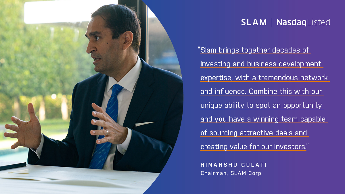 Now trading on @Nasdaq, Slam Corp is seeking to acquire an established category leader in the sports, media, entertainment health, and wellness sections.