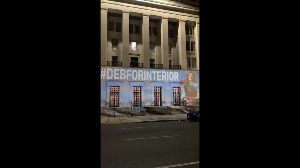 WATCH: Image of Deb Haaland projected onto Interior Dept building calling for her confirmation
