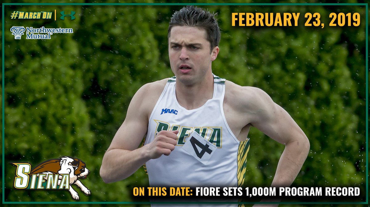🗓️ #OnThisDate in #SienaSaints History presented by @NM_News 2⃣ years ago today, @SienaXCTracks @LucianoFiore10 set the program record in the mens 1⃣0⃣0⃣0⃣ meter race at the 2⃣0⃣1⃣9⃣ @usatf Indoor Championships in Staten Island, NY. #MarchOn