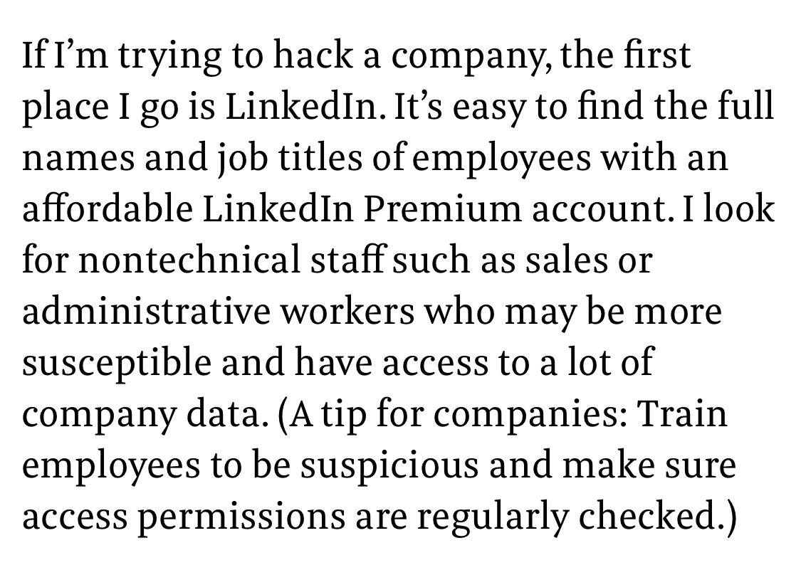 Great article from @InsiderPhD about social media/social engineering. When I left [Redacted] for civilian life in 2010, I gave a presentation to the new company about how I would hack them. I used the techniques outlined below, sad to see they still work.