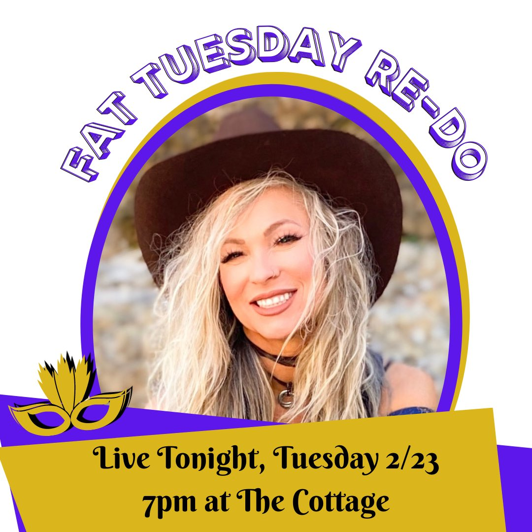 We're going to Re-Do #fattuesday since it couldn't happen last week with that crazy weather! Join me TONIGHT 2/23 at The Cottage for some #livemusic, food and fun! 💜⚜️💚