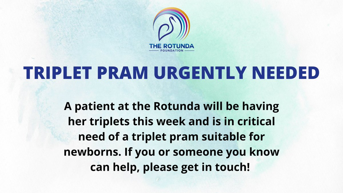Can you help? A patient at @RotundaHospital is due to have triplets this week and is in critical need of a triplet pram suitable for newborns. Please message us directly if you can help. Thank you!!