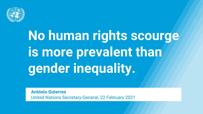 """At the opening session of the Human Rights Council, @UN Secretary-General @antonioguterres said gender inequality is """"the most pervasive human rights violation of all"""".  Full speech:    #StandUp4HumanRights"""