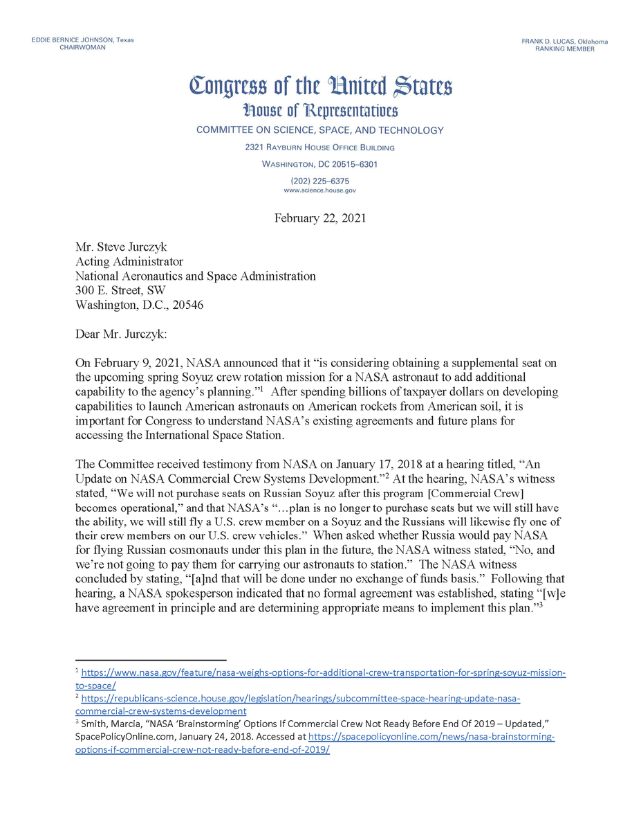 TODAY, @RepFrankLucas & @RepBrianBabin sent a letter to @NASA requesting a briefing on the agency's announcement that it's considering obtaining a supplemental seat on the upcoming Soyuz crew rotation mission to the @Space_Station. #LaunchAmerica  MORE 👉