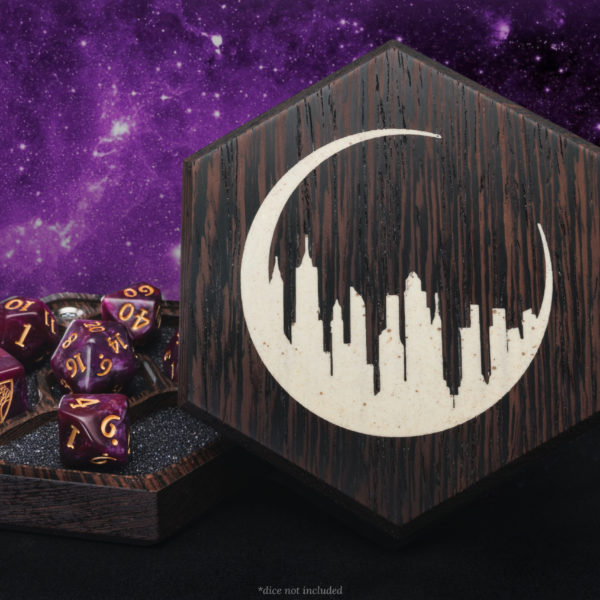 GANG!  Happy to announce a new limited-time partnership with @WyrmwoodGaming - you can now get #TheUnsleepingCity-branded dice vaults and rolling trays right here!