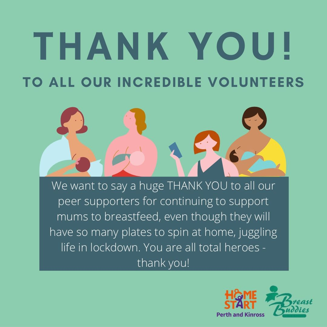 We want to say a huge THANK YOU to all our peer supporters for continuing to support mums to breastfeed even though they will have so many plates to spin at home, juggling life in lockdown. ❤️  #breastfeedingacotland #breastfeedingmatters #breastfeedingsupport #hereforyou