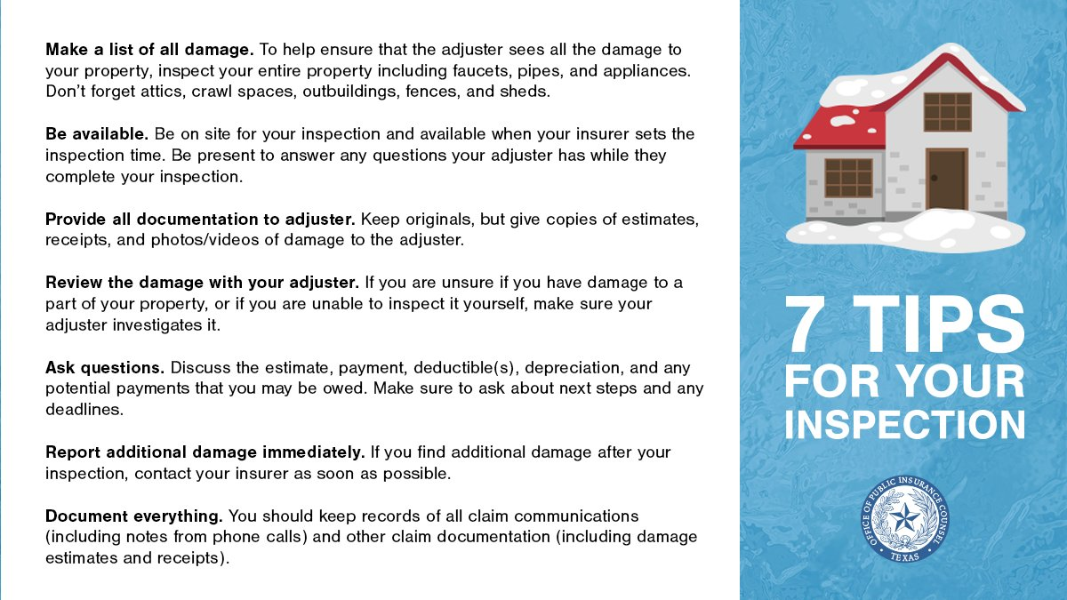 ✏️#TipTuesday: Due to widespread damage from the recent storms, it may take a while for your insurer to inspect your property. A missed call or inspection can lead to delays in your claim.  Here are 7 tips for a successful home inspection: