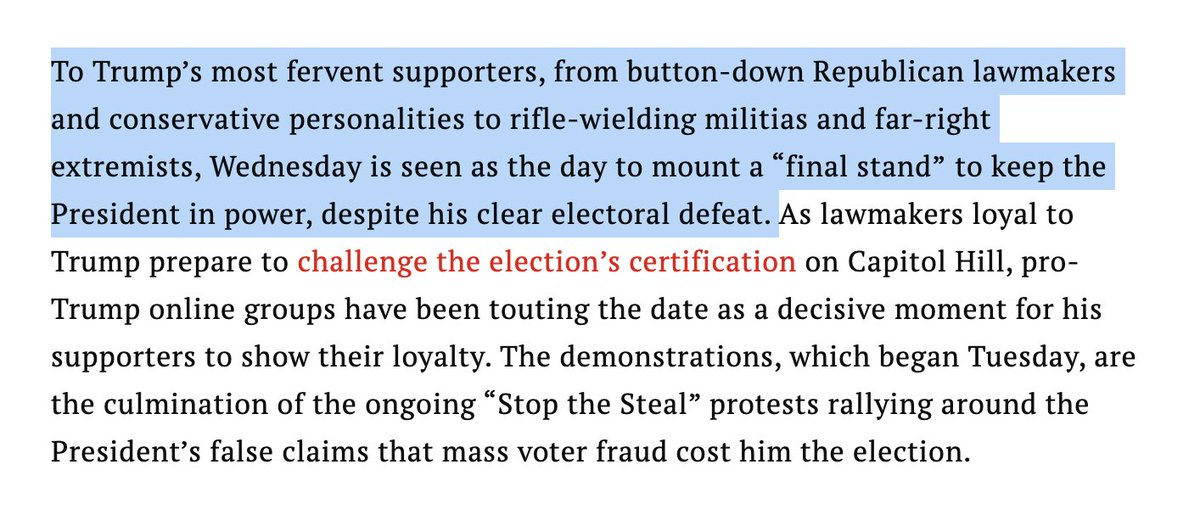 ".@wjhenn and I wrote this on 01/05: ""To Trump's most fervent supporters (incl. militias and far-right extremists) Wednesday is seen as the day to mount a ""final stand"" to keep the President in power...touting the date as a decisive moment for his supporters to show their loyalty"""