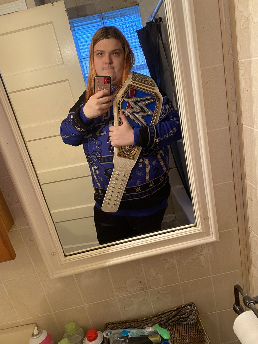Got my @SashaBanksWWE sweater and smackdown women's title in the mail today :D so happy #LegitBoss