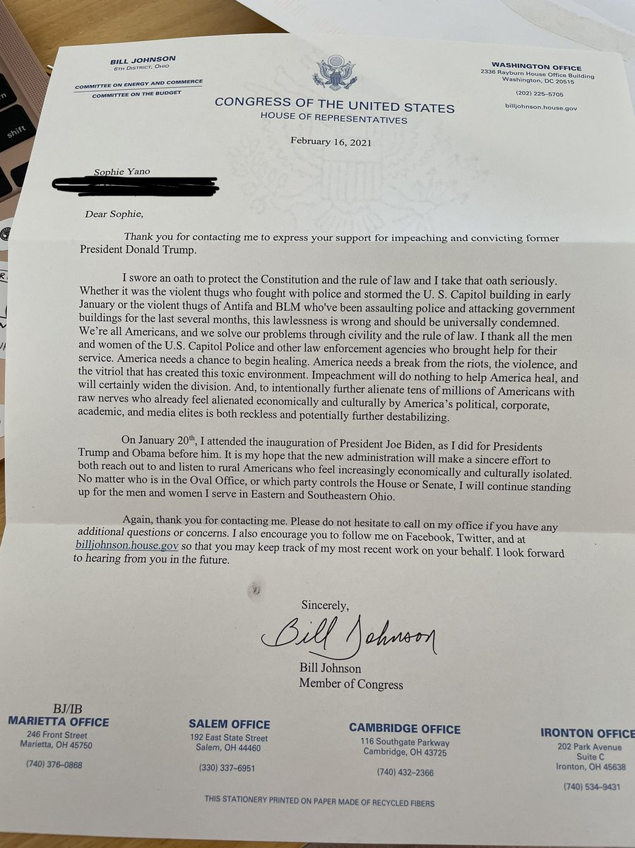 Leave it to Republicans to receive letters about the insurrection and still find a way to yell about Antifa and BLM. @RepBillJohnson you are the worst.