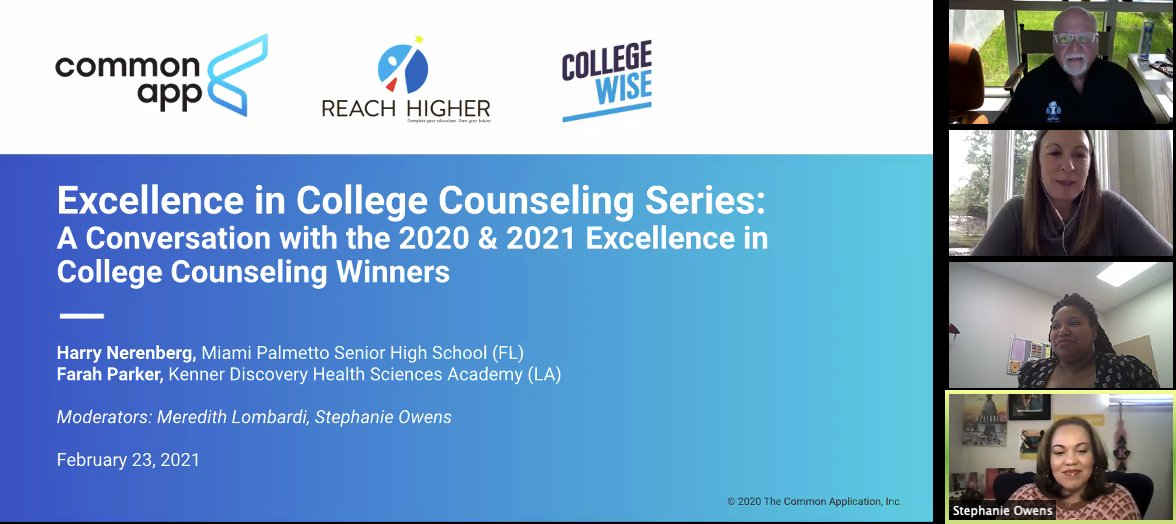 Our final #EICC21 webinar is kicking off now! Say hi to 2020 Excellence in College Counseling winner Farah Parker of @discoveryhsf, and representing the 2021 winners, @HarryNerenberg of @palmettoSHS. @srsowens & @MLL_CommonApp are moderating!