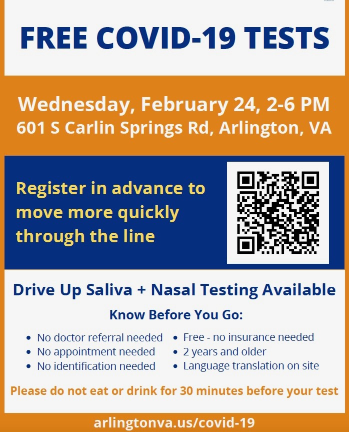 Free Covid tests in south Arlington, Wed. 2/24, 2-6 pm. No appt or insurance needed. No ID or doctor referral is needed. <a target='_blank' href='https://t.co/pNM84ddZL6'>https://t.co/pNM84ddZL6</a> Spread the word, but <a target='_blank' href='http://search.twitter.com/search?q=StopTheSpread'><a target='_blank' href='https://twitter.com/hashtag/StopTheSpread?src=hash'>#StopTheSpread</a></a> <a target='_blank' href='http://twitter.com/ArlingtonVA'>@ArlingtonVA</a> <a target='_blank' href='https://t.co/haGi37iI8Q'>https://t.co/haGi37iI8Q</a>