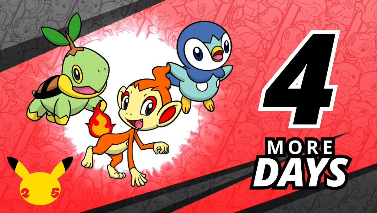 Pokemon - Let's go, Sinnoh!  Turtwig, Chimchar and Piplup are preparing for #PokemonDay—it's only 4 days away!