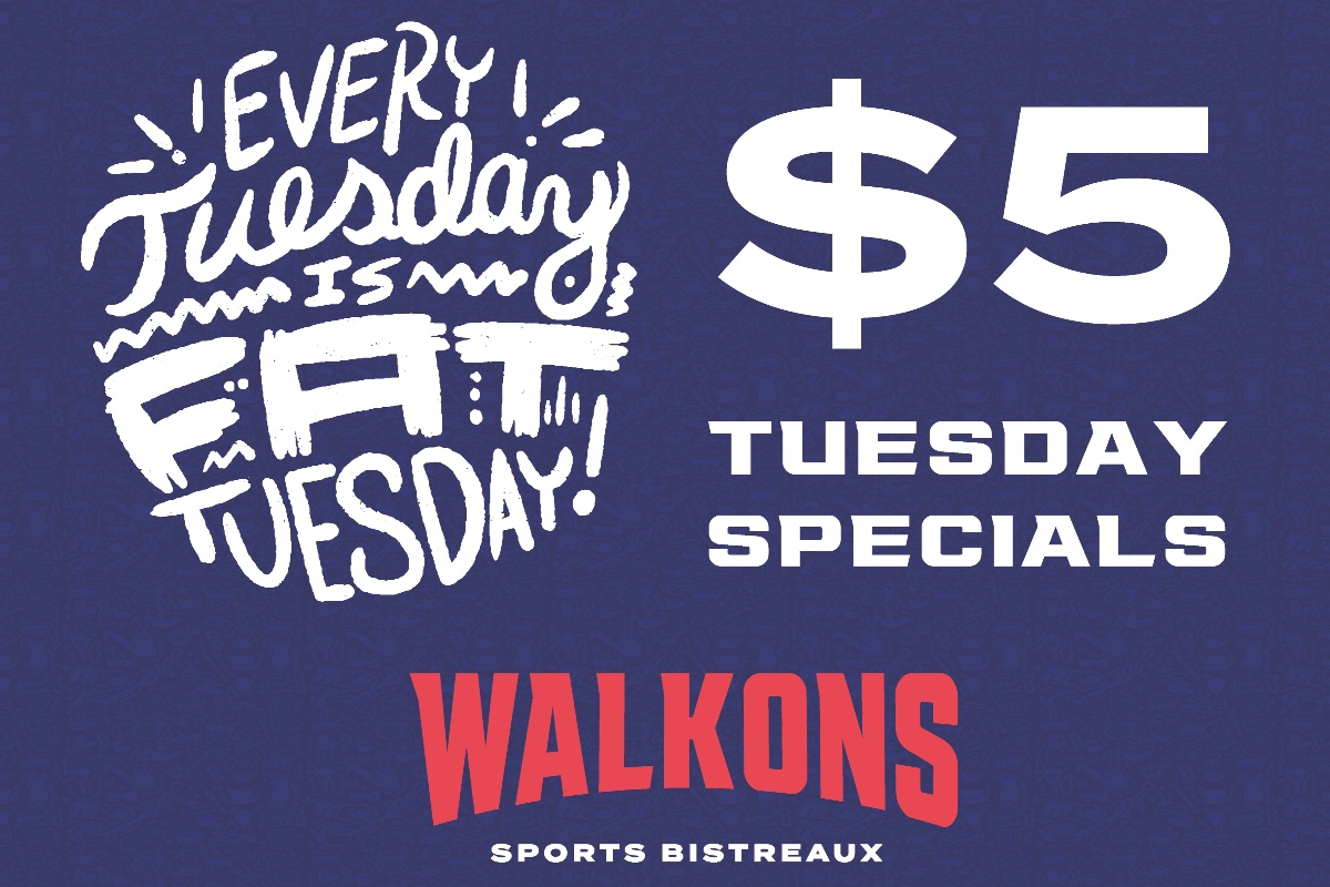 Every Tuesday is #FatTuesday here at Walk-On's! 📿 Enjoy a special $5 dine-in menu every Tuesday: #Beignets, #BoudinBalls, 16oz #DeathValleys and 16oz #BloodyMarys!  Getting your faves to-geaux? Order through our app & earn double points every Tuesday:
