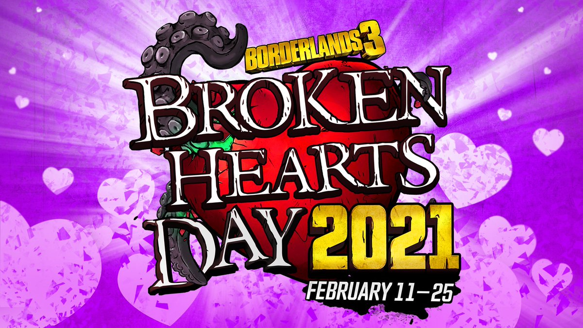 To help mend the Broken Hearts that some players had while trying to claim rewards, we've put out a little update that loads the Loot Hearts with Broken Hearts Day weapons. As a special bonus, we're making sure you see more of those hearts!