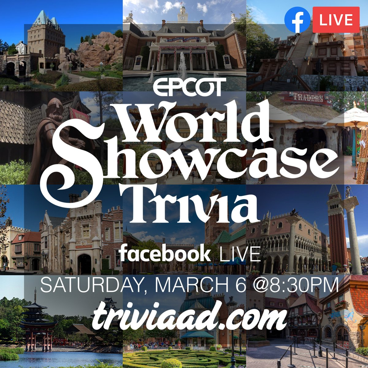 #EPCOT #WorldShowcase #Trivia via Facebook Live-Stream this Sat., 3/6 at 8:30pm ET, hosted by @FTJByKara. RSVP GOING on the Facebook event at;  #WDW #Disney #DisneyWorld #Ratatouille #FrozenEverAfter