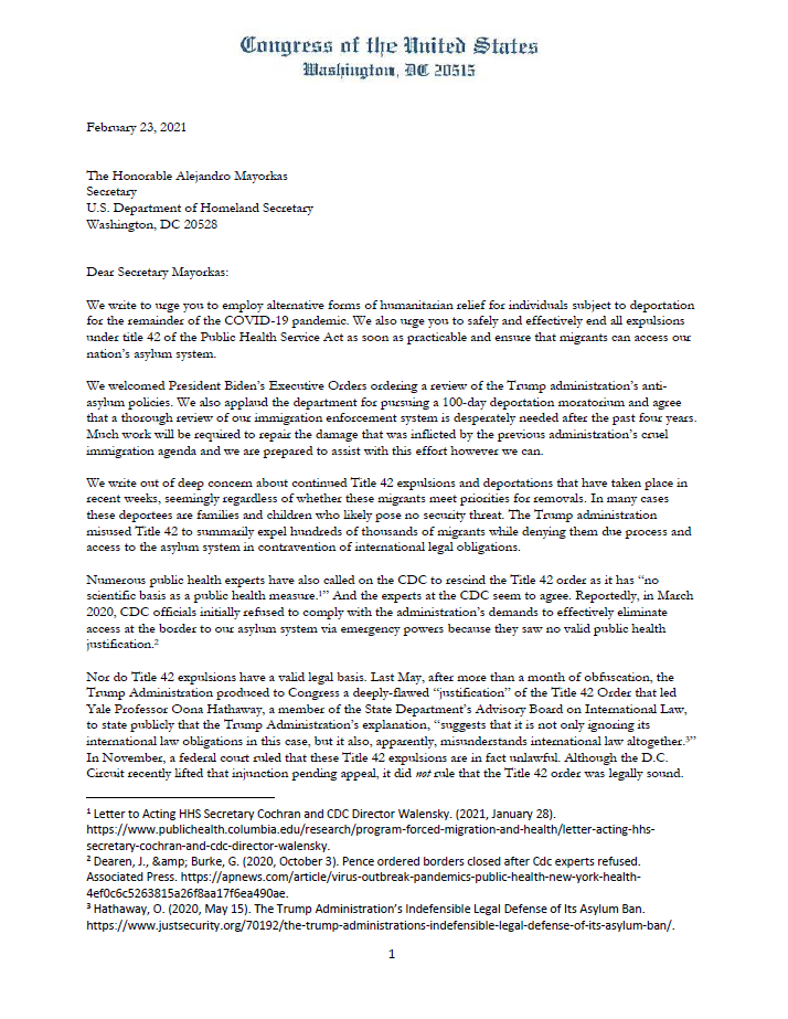 last year, Trump used an obscure public health law to shut down our asylum system. I led a letter signed by 61 members of Congress calling for the Biden admin to turn the page on this ugly remnant of the Donald Trump/ Stephen Miller agenda and end so-called Title 42 expulsions.