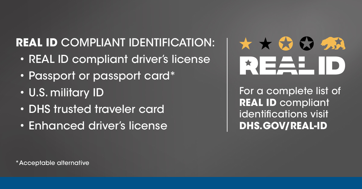 Beginning Oct. 1, 2021, if you plan to use a state-issued ID or license to fly within the U.S., make sure it's #RealID-compliant. Other acceptable forms of identification include passports, passport cards, and military IDs. Learn more at: .