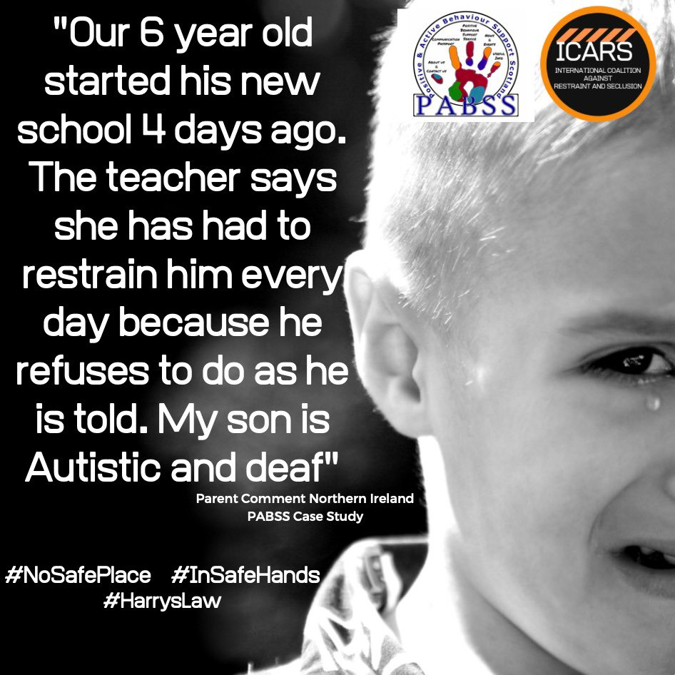 As a survivor of restraint and seclusion, I stand w/ @ICARSBanRandS & the families they represent. We call on @Chris_Lyttle & @niassembly to uphold Article 2,3,4 & 28 of UNCRC, pass Harry's Law to provide meaningful protections. #HarrysLaw #BreakingCodeSilence