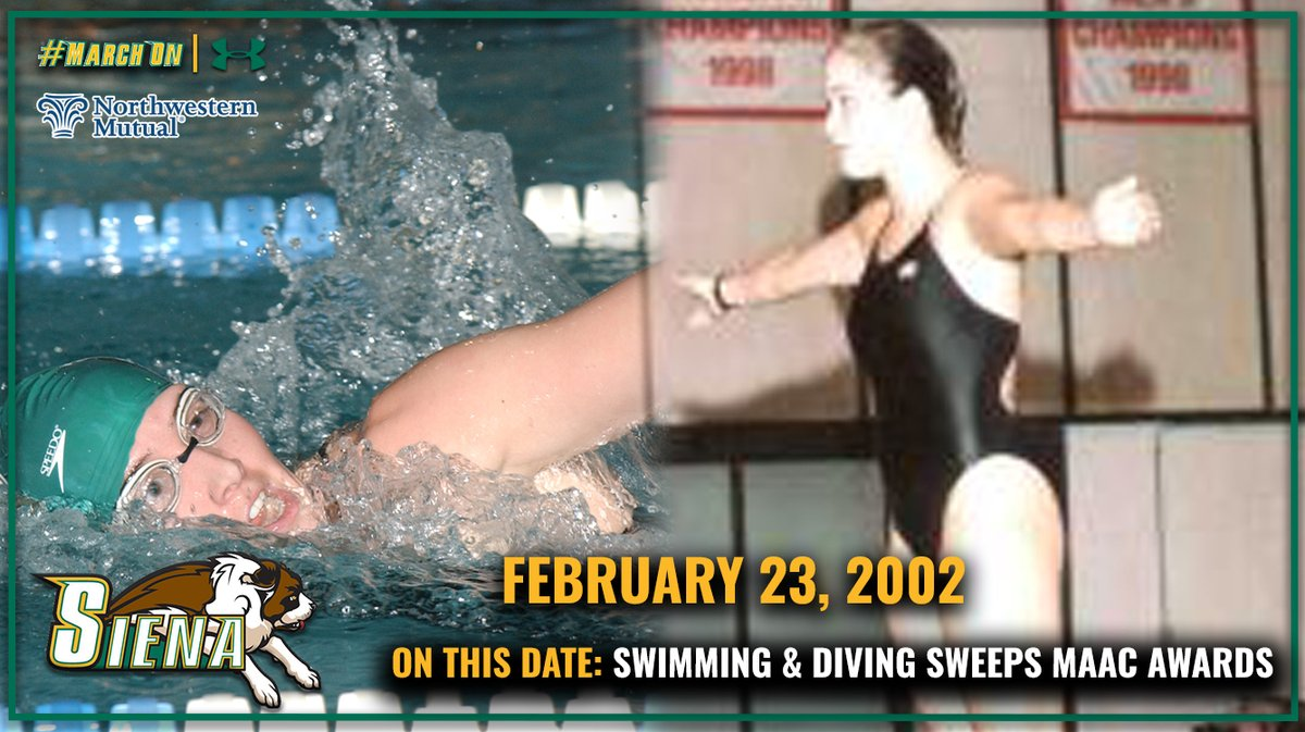 🗓️ #OnThisDate in #SienaSaints History presented by @NM_News 🏊♀️ 1⃣9⃣ years ago today, @Siena_SwimDives Kelly Pangburn HOF 12 and Leah Serbalik took home #MAACSwim Outstanding Female Swimmer & Diver, respectively at the 2⃣0⃣0⃣2⃣ @MAACSports Championships. #MarchOn
