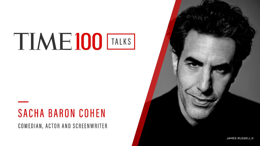 Join us for a live #TIME100Talks featuring @SachaBaronCohen on Friday, Feb. 26 at 1:00 PM EST.  Register now: https://t.co/ynFEaLmWDO https://t.co/Nr6LSWXfYF