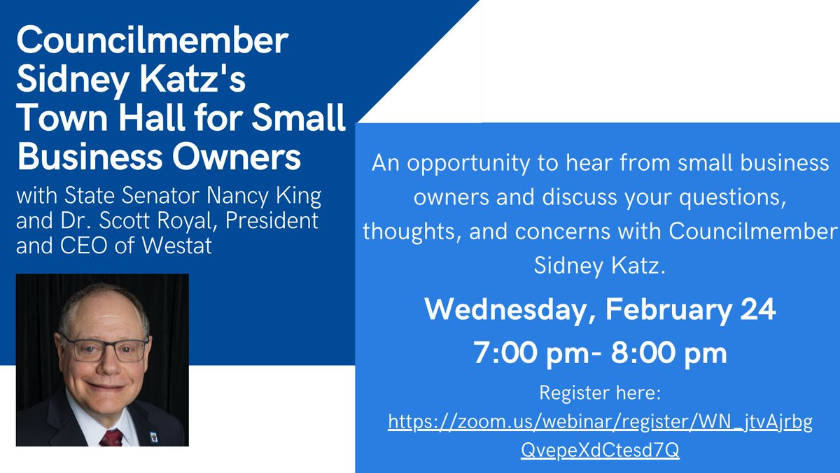 Join me tonight for my Small Business Town Hall at 7PM.  To register: https://t.co/ZENNCVs18P @GGCCNEWS @MCCCMD More information 👀👇