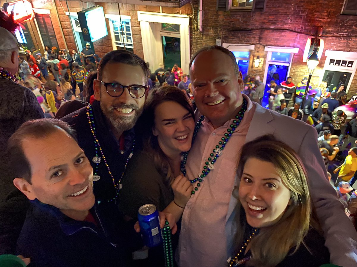 Party time on the famous #bourbon street balconies. Con mi peeps.   #fattuesday #2020 @VisitNewOrleans @NOLAnews