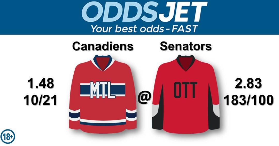#NHL, #HockeyIsBack,   #Canadiens, #GoHabsGo, #MontrealCanadiens, vs. #Senators, #Sens, #GoSensGo, #OttawaSenators, Get your best odds - fast at
