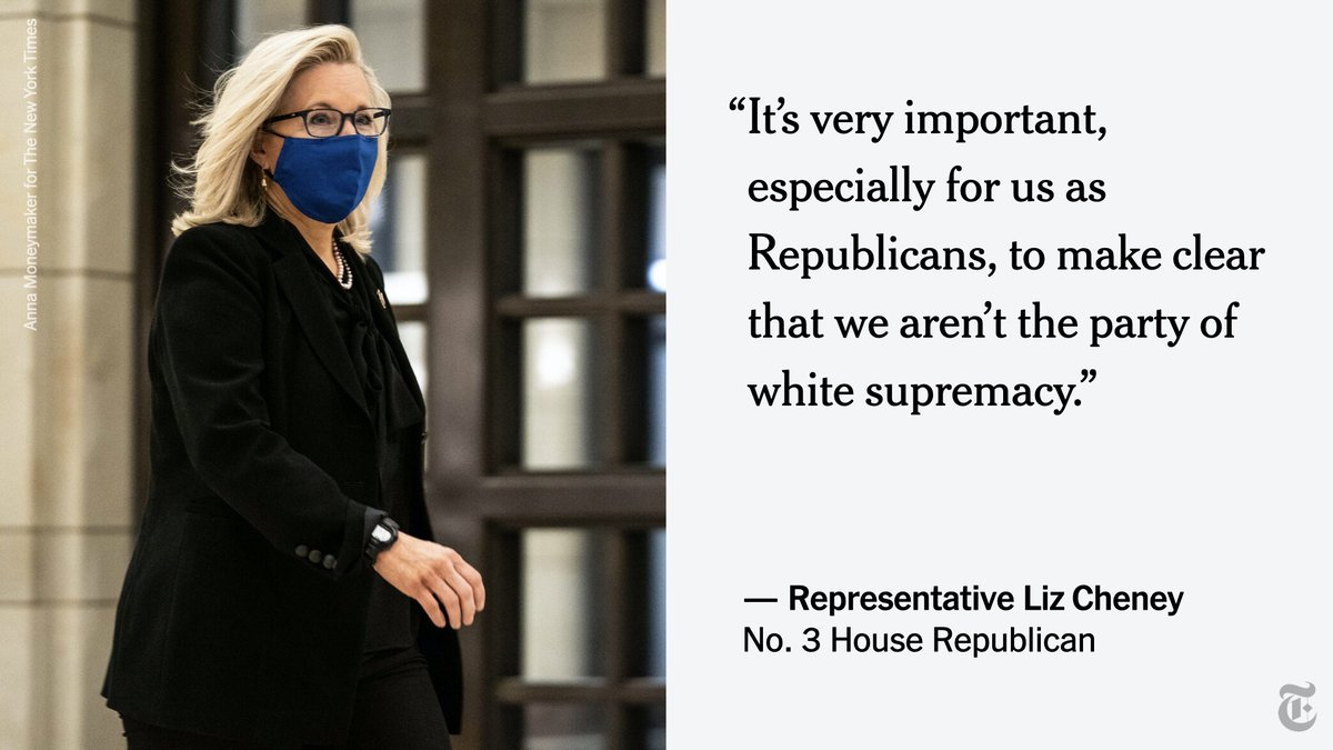 "Representative Liz Cheney of Wyoming called on her fellow Republicans to ""make clear that we aren't the party of white supremacy,"" saying  that elected officials must forcefully condemn those responsible for the Capitol riot."