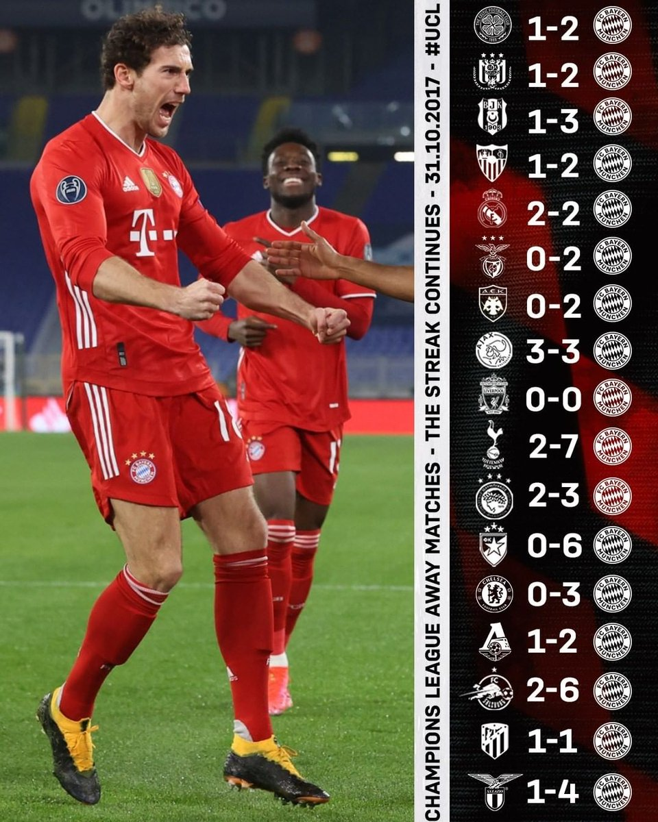 Replying to @iMiaSanMia: Unbeaten in 17 straight Champions League away games - a competition record [📸 @FCBayern]