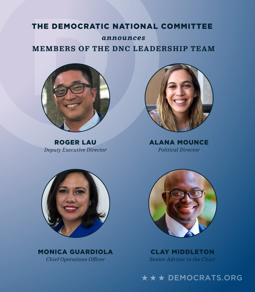 We are excited to announce new members of our leadership team: @RogerLau, @claynmiddleton, @pdtaylorHU, @1MonicaG, @alanamounce, @LMeiWilliams, and @JoseNunezIV.   We're ready to work to elect and support Democrats up and down the ballot.