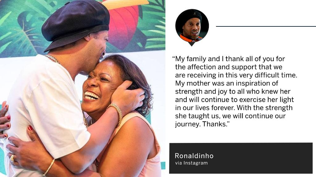 Ronaldinho thanked everyone for their support and shared this photo after losing his mother to COVID-19 🙏❤️