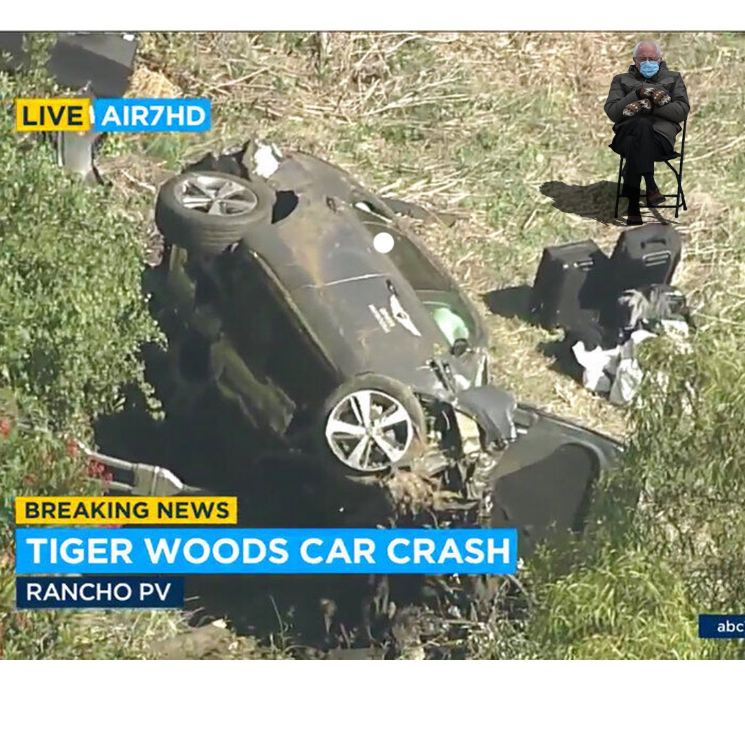 Don't worry, Bernie is holding it down #TigerWoodsCrash #BernieSandersMittens #tigerwoods
