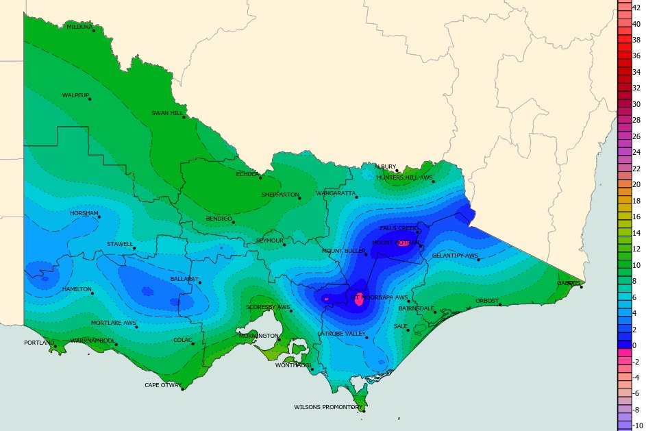 It was a cool start to the day for Victoria, particularly for people in the southwest and alpine areas. Mt Hotham & Mt Baw Baw were coldest (-0.3°C) ❄️ Westmere in the States SW dropped to 2.7°C, while #Melbournes min was 13°C. All #VicWeather obs: ow.ly/sGwH50DIaIu