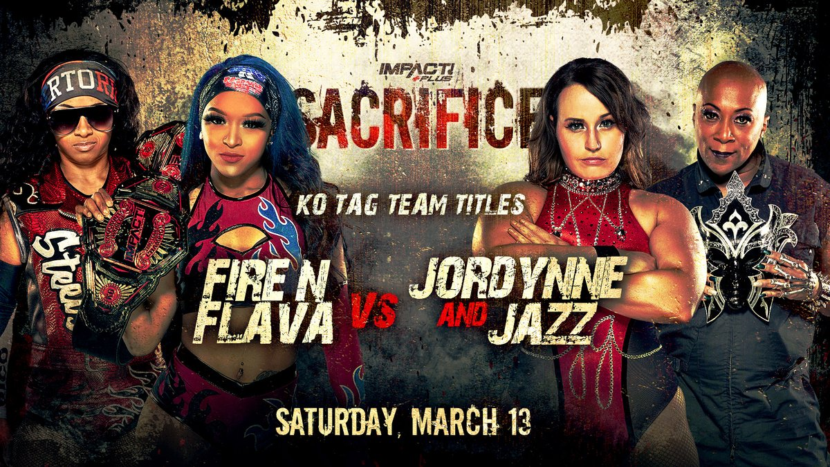BREAKING: @RealTSteelz and @HoganKnowsBest3 will defend the Knockouts Tag Team Titles against @JordynneGrace and @Phenom_Jazz on March 13th at #Sacrifice on @IMPACTPlusApp! Subscribe HERE: impac.tw/GetIMPACTPlus