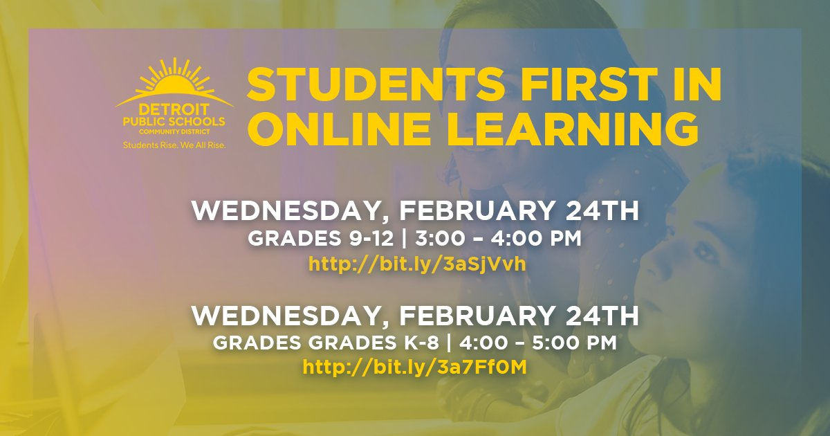 DPSCD Families and Students in Grades K-8! Interested in learning more about recent grading and assignments updates? Join our next info session for grades K-8 on Weds., Feb. 24 at 4:00pm at https://t.co/KFT0jcGNVd. More info at  https://t.co/jgJjvGTsh0 https://t.co/W99YQshz9k