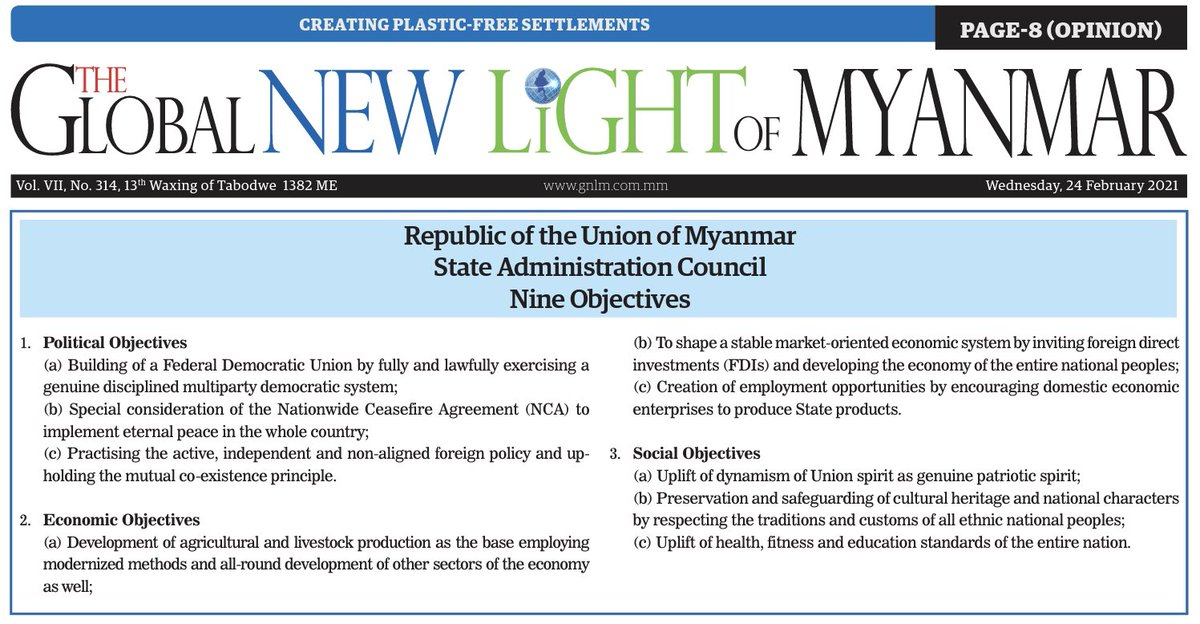 "State media sets out the #Myanmar regime's 9 Objectives (non-random number). It's a SLORC redux: ""disciplined democracy"", import substitution, livestock breeding, Union spirit, cultural protectionism, brisk walks. https://t.co/ZJp163idjm"
