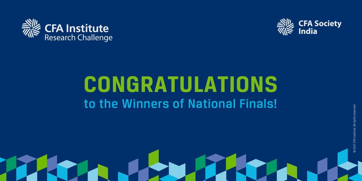 CFA Society India congratulates the 3 winners of the CFA Institute Research Challenge India 2021 @IIMAhmedabad #IIMRanchi @IITKgp #CFASocietyIndia #CFA #cfainstitute #researchchallenge #research #winners #challenge