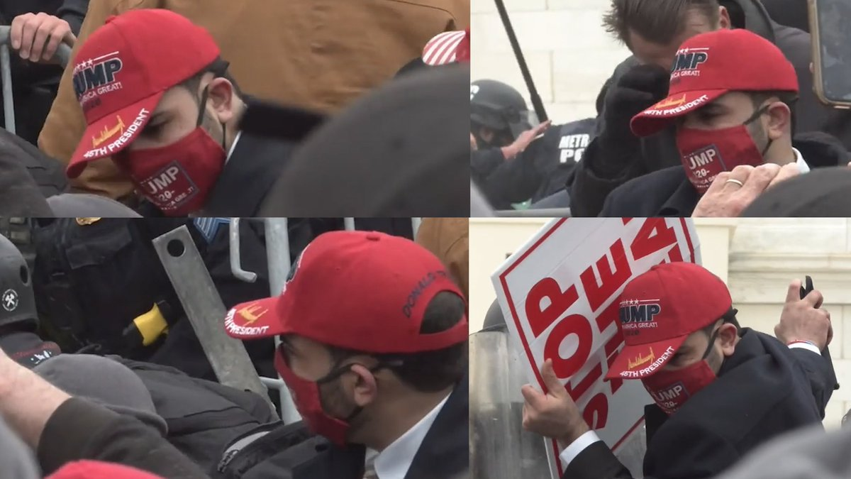 This insurrectionist in the Red Trump Hat used a chemical irritant on several police officers. Photos @FBIWFO