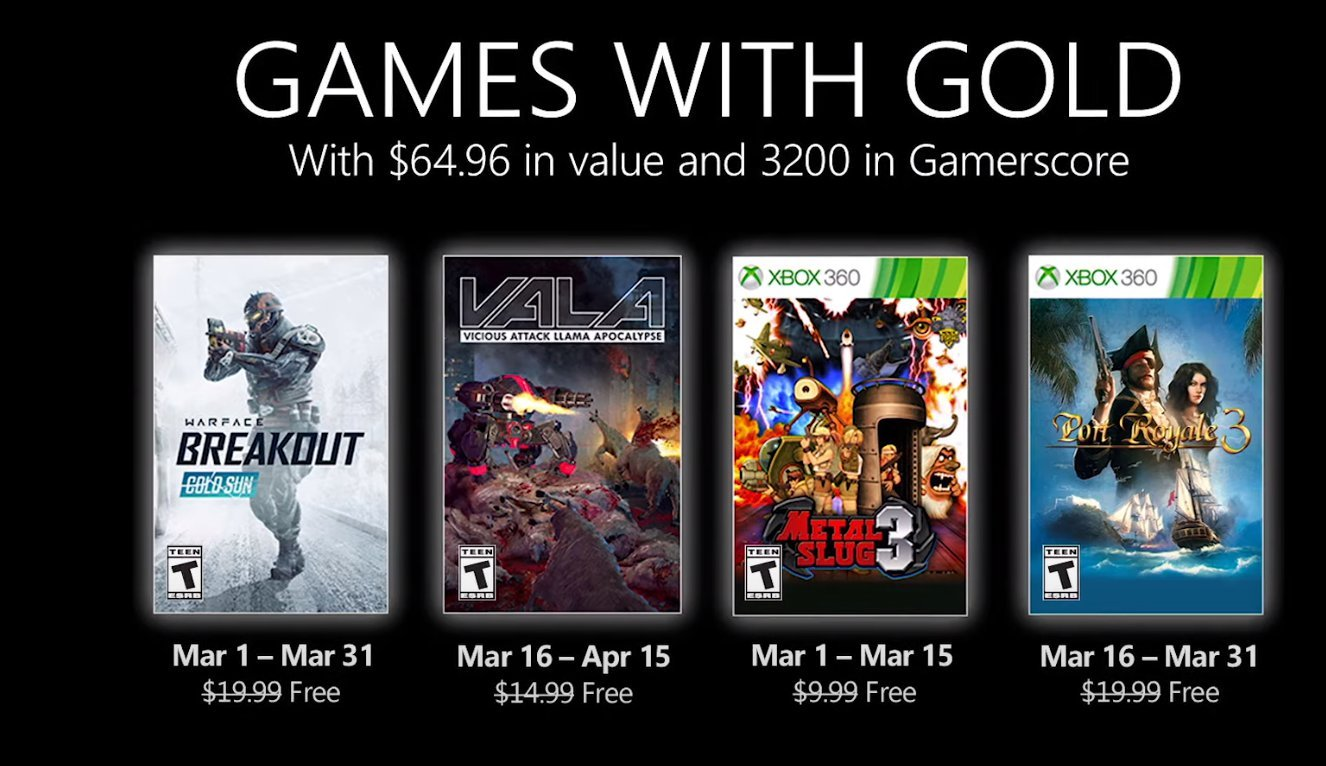 Xbox Live Games with Gold March 2021