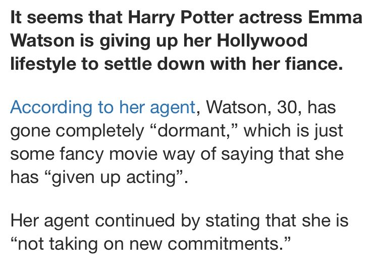 EMMA WATSON RETIRED AND WILL STOP ACTING?????