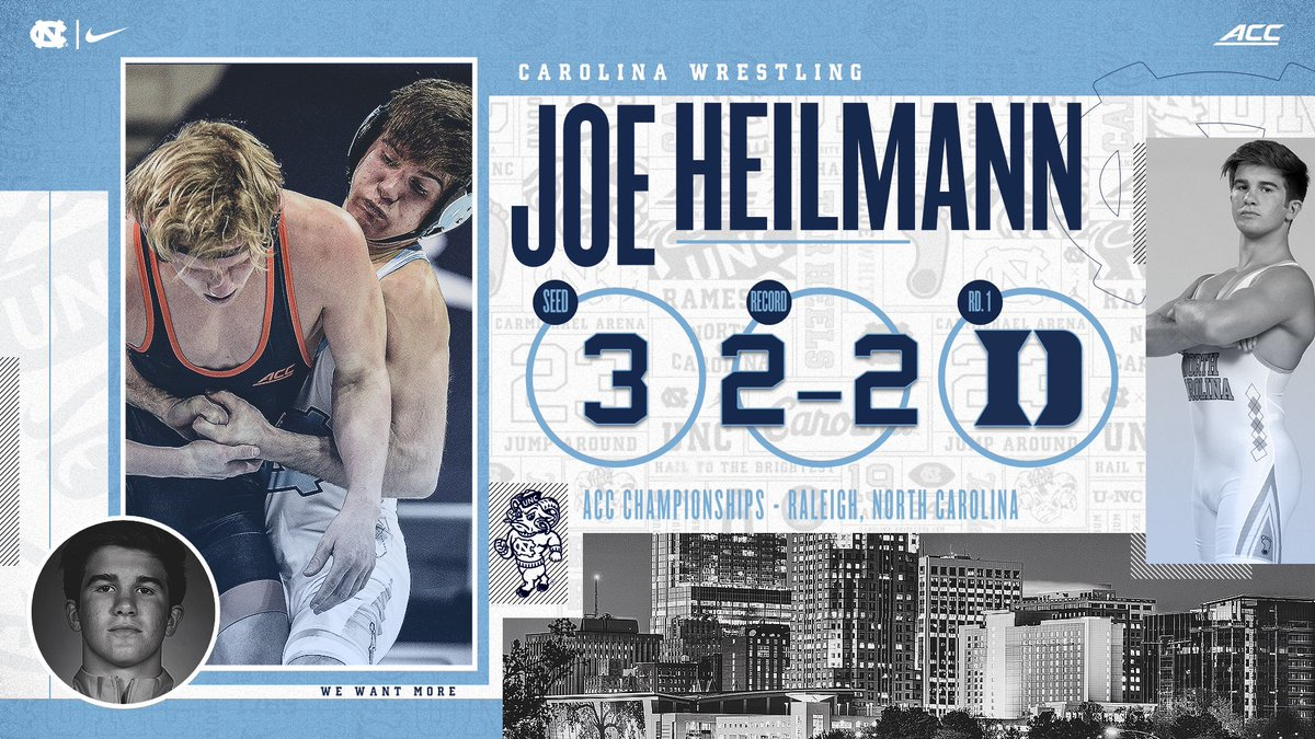 Joe Heilmann (133) is set to compete this weekend for the Tar Heels. Heilmann took fourth at 125 pounds at the 2019 ACC Wrestling Championship.   #GoHeels | #WeWantMore