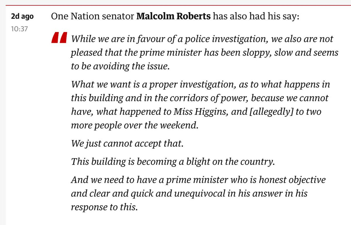 Malcolm Roberts kept Sean Black as an adviser for five months after he was charged with rape https://t.co/OMzol5q9O7  This is what Malcolm Roberts said on Monday – two days ago –about the government's need to act on the Brittany Higgins allegations https://t.co/vT19M6Uwvd https://t.co/p78xRSsEpp